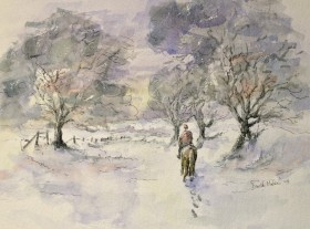 Horse ride in the snow Watercolour and ink painting by David Mather