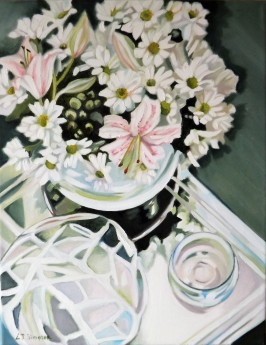 Glass Reflections with lilies and daisies