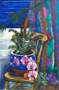 main view, Still life with Orchids and Harlequin pattern