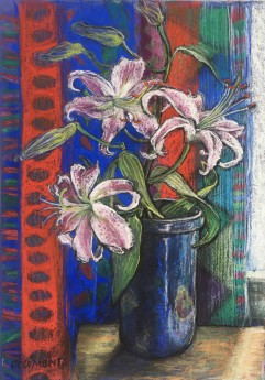 Still life with Lilies and Striped Curtain