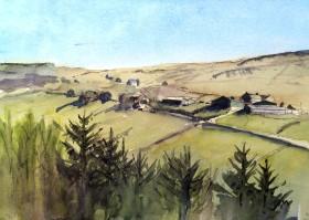 hills moorland farm trees
