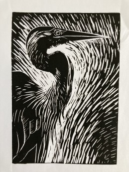 Lino print, birds, wildlife, original print, limited edition, lino print, black and white.