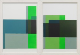 Cubistic Modern Green - Diptych - Incl Frame
