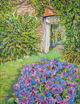 HYDRANGEAS IN THE WALLED GARDEN painting for sale