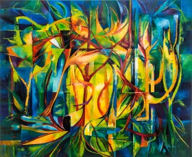 contemporary abstract in vibrant colour suggesting jungle theme