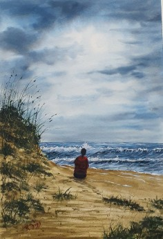 Just Me - Original Watercolour by Ricky Figg -  Sitting on the beach watching the waves
