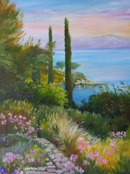 Canvas oil painting of Kassiopeia, Corfu by Maureen Greenwood