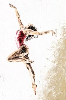 Fine art original sensual figurative female modern ballerina dancer