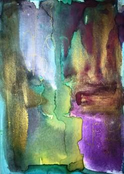 abstract painting goldblack purple yellow framed art