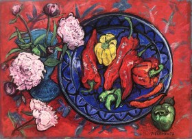 Peonies and Peppers still life