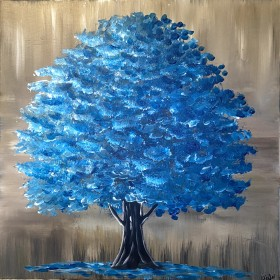 Majestic Teal Blue Tree 3
