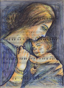 mother and baby,mother and child,child,hug human,love,music,people,portrait, vintage