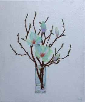 glass vase with flowers,glass vase,blue,elegant, flowers, magnolia, nature, plants, spring, minimalist