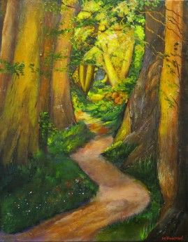 Canvas acrylic painting of a woodland scene by Maureen Greenwood