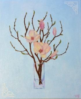 Pink Magnolia,Magnolia,pink flower,spring,flower,vase,plants,