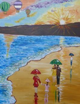 Colourful Umbrellas and a Sunset Seascape