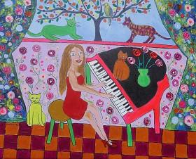 folk art cat painting