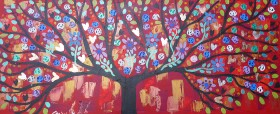 Jewelled Tree in a Bright red sky