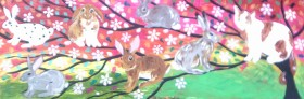 Rabbits and a A Cat on a Sparkly Tree of Life