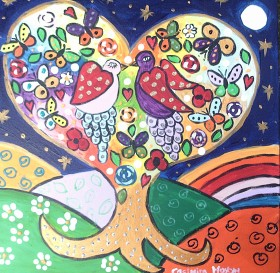 Birds in Love on the sparkly heart shaped tree