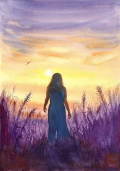 evening, figurative, human, landscape, mood, morning, nature, sunrise, sunset, woman