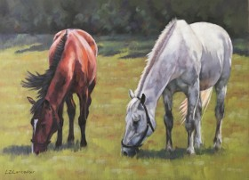 Bay and Grey Horses Grazing pastel painting