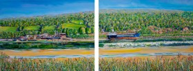 The Severn Bore at Arlingham Passage. Diptych