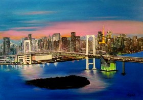 Paesaggio di Tokyo dipinto con colori ad olio su tela di cm.50x70