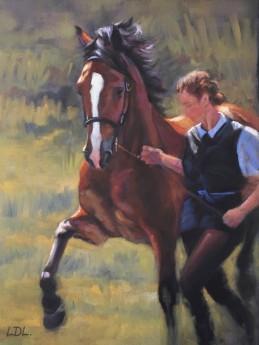 Bay Welsh Cob Stallion painting