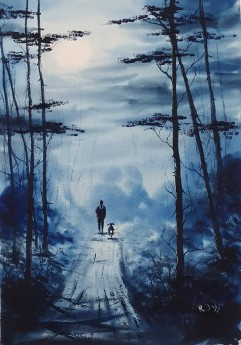 Under The Moon - Original watercolour by Ricky Figg - Walking the dog in the woods