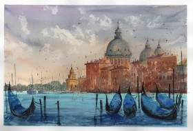 Venice on cloudy day