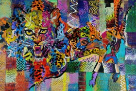 Wild leopard hunting abstract painting 928