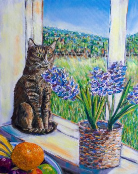 WINDOWSILL LOOKOUT Acrylic on canvas painting 50cm x 40cm