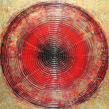 Textured painting on Canvas Gold leaf on textured gesso Circular, geometric abstract painting Gold and red colours on 3D effect painting ready to hang Sides are painted Signed and stapled on the back About my art:  The world we live in is made of colour.