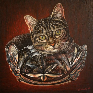Gigi my pet cat in a cut glass bowl