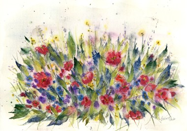 Wildflowers - watercolor and ink on paper
