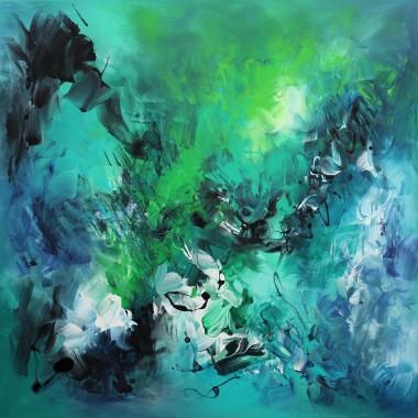 teal canvas art
