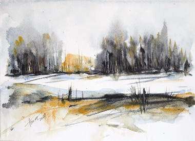 Snow on the Forest Glade watercolor on paper