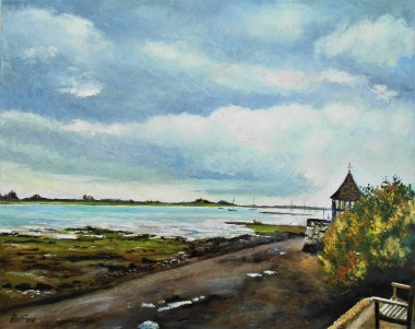 Bosham, harbour, seascape, clouds, rain, boats, peaceful
