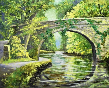 river, bridge, peaceful, affordable oil painting, reflections in water, green,