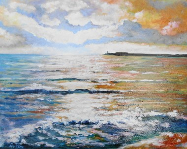 Sunset waves, harbour, affordable oil painting, reflections in water, seascape