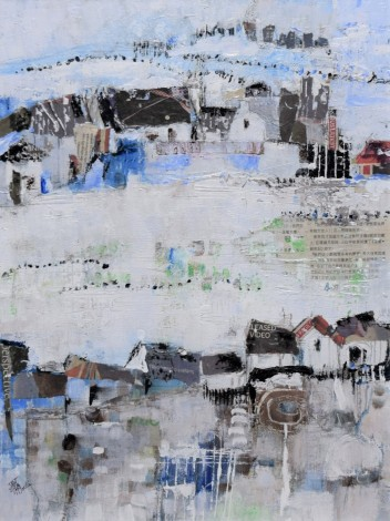 mixed media painting of winter landscape
