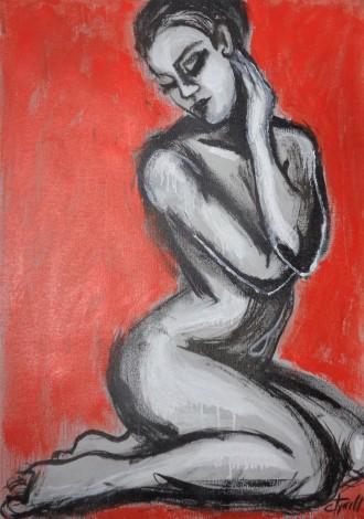 sensual seated female nude
