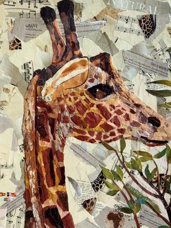 Giraffe wildlife animal green leaves collage cute