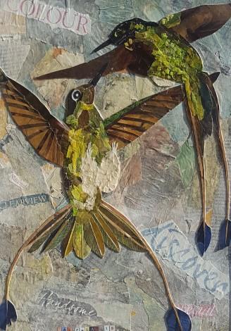 Birds animals wildlife nature collage green