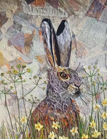 Hare rabbit flowers collage  wildlife