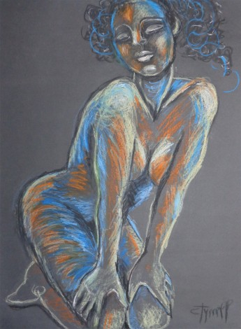 colourful female nude on her knees