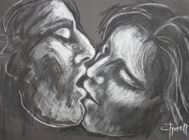 portrait man and woman kissing