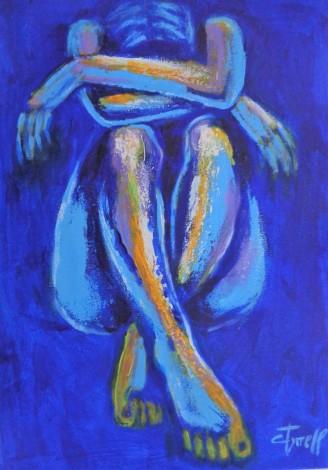 seated distressed nude figure