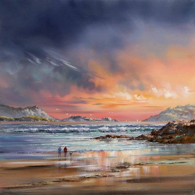 waves lapping surf dusk dawn
